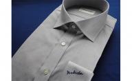 【生地:ノーアイロン】オーダーワイシャツ-「オリジナルネーム入り」川西町産貝ボタン使用-