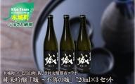 K21_0013_2<木城町・毛呂山町 新しき村友情都市コラボ 日本酒 純米吟醸「城 ~不落の城」3本>