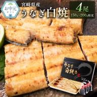 <お中元対応>鰻の白焼き 4尾(150~200g)【N3】