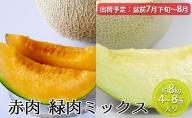 7月~8月盆前【秀~優品】津軽平野のメロン  8kg程度(赤肉・青肉セット) (4~8玉)【青森メロン】