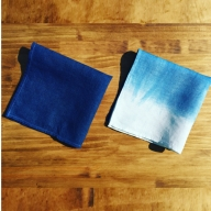 AI-04室戸オーガニック藍で染めた100%リネンハンカチ2枚セット