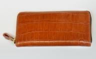 BK022・ラウンドジップ長財布(クロコ型押し・ブラウン)