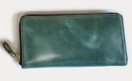BK024・ラウンドジップ長財布(オイルレザー・グリーン)