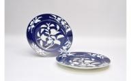 A90-14  深川製磁 草花折枝白抜紋 ペアミート皿