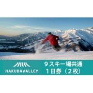 HAKUBA VALLEY 9スキー場共通1日券(2枚)
