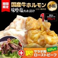 010B676 【期間限定】国産牛ホルモン(小腸)味噌・塩だれ小分け焼肉用1kg(250g×4)+訳ありサラダ用ローストビーフ500g付