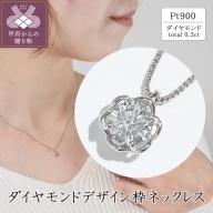 プラチナ ダイヤモンドデザイン枠ネックレス(0.3ct)