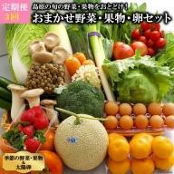 AF057【定期便】【年3回】島原の旬の野菜・果物!おまかせ野菜・果物・卵セット