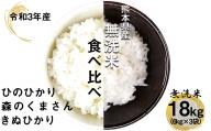 AG33<先行予約>令和3年産新米 熊本県産 無洗米 食べ比べ ひのひかり・森のくまさん・きぬひかり 18kg