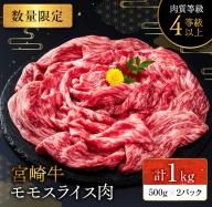 B132 《数量限定》宮崎牛モモスライス肉(すき焼き)計1kg
