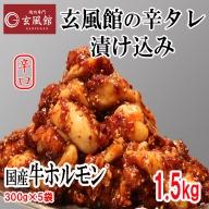 AE86.【玄風館】国産牛ホルモン(辛口タレ漬け)1.5kg【焼肉用】