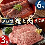 t005-010 【定期便全2回】鰻と肉の定期便!ステーキ3枚と鰻蒲焼6尾をお届け