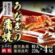 【D-369】大隅産うなぎの蒲焼 特大220g×4尾(有頭)