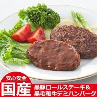 No.091 黒豚ロールステーキ&黒毛和牛デミハンバーグ【美山ハム】