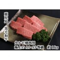 【B01022】鹿児島県産黒毛和牛カルビ焼肉用 極上のA4・A5等級約1kg