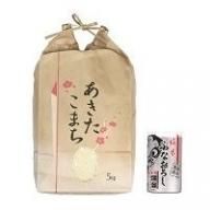 【令和元年産米】 B2301 秋田県産あきたこまち精米5kg・爛漫純米ふなおろし200ml詰缶セット