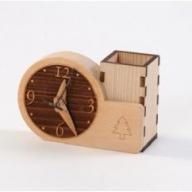 G6702 木製時計付き ぺん立て