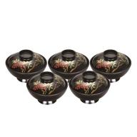 E5901 川連漆器 4.2古代型吸物椀5客