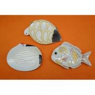A15-10 長寿の象徴「鶴と亀」&「おめで鯛」 招福豆皿セット