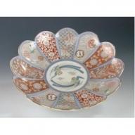 A150-15 深川製磁 染錦金彩鳳凰 菊割親皿