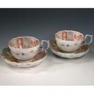 A250-7 深川製磁 染錦金彩鳳凰 ペア菊割紅茶碗皿