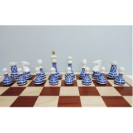 A1400-3 有田焼のチェス駒ハーフ(藍鍋島松竹梅)&木製チェス盤セット 陶楽