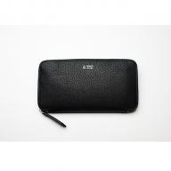 【GOMYO LERTHER】猪革 手縫いラウンド長財布(黒)