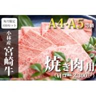 【限定100セット/月】小林市産宮崎牛肩ロース焼肉用  30-3005