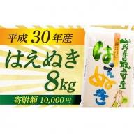 010-001【玄米】平成30年産 山形県最上町産はえぬき8kg