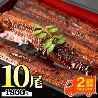 【55743】東串良町のうなぎ蒲焼(無頭)(180g以上×10尾・タレ、山椒付)【アクアおおすみ】