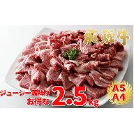飛騨牛 焼肉・あみ焼き・バーベキュー用 2.5kg【飛騨牛A5等級ほか】
