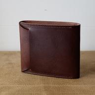 植物タンニンレザーの二つ折財布(こげ茶)※クレジット限定