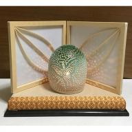 灯りの陶器【緑色】(建具職人が作った癒しの工芸品)