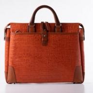 豊岡鞄クロコ型皮革ブリーフ(サンセット)  24-141