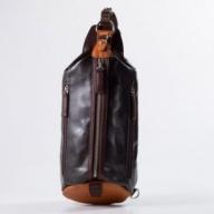 豊岡鞄 帆布×皮革ワンショルダー(24-132)  チョコ