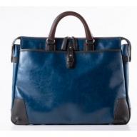 豊岡鞄 帆布PU×皮革ソフトブリーフ(24-110) ブルー