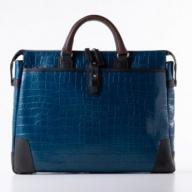 豊岡鞄クロコ型皮革ブリーフ(ブルー) 24-141