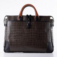 豊岡鞄クロコ型皮革ブリーフ(チャコール)  24-141