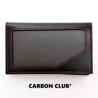 [P041] 炭素繊維織物 カードケース 黒×赤