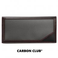 [P043] 炭素繊維織物 長財布 黒×赤