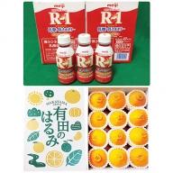 【健康セット】明治 R-1 低糖・低カロリー 112ml 24本と有田のはるみ 化粧箱 12個入り M~2Lサイズ(サイズおまかせ)
