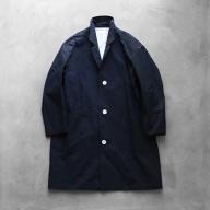 HUIS遠州織物ウォッシャブルウールコットンショップコート(黒)