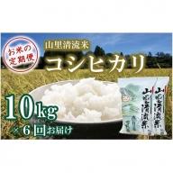 108002. 【定期便】山里清流米コシヒカリ 10kg×6回(隔月)