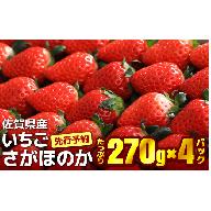 A-16 佐賀県産いちご「さがほのか」 たっぷり270g×4【先行予約】