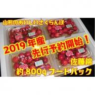 C1306 さくらんぼ佐藤錦(山形県産) 約800g フードパックバラ詰め