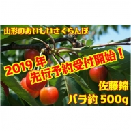 C1305 さくらんぼ佐藤錦(山形県産) 約500gバラ詰め