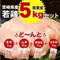 大容量<宮崎県産若鶏5kgセット>※平成31年3月末までに順次出荷【B320】
