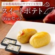 自家農場栽培のサツマイモ使用!スイートポテト 16個セット【A148】