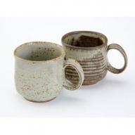 015-F03 【バラ&さくらんぼの灰釉焼成】 ペアマグカップ