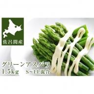 旬の採れたてグリーンアスパラ1.5kg 北海道佐呂間産